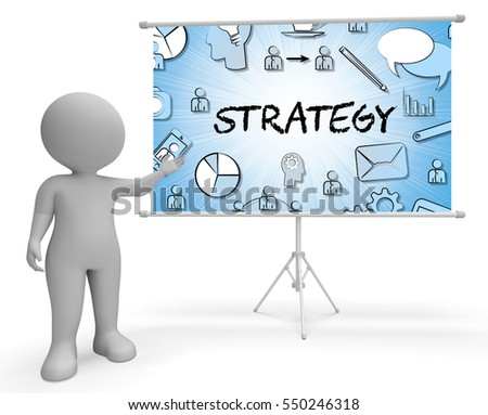 Strategy Icons Sign Meaning Plans Symbols And Strategic 3d Illustration