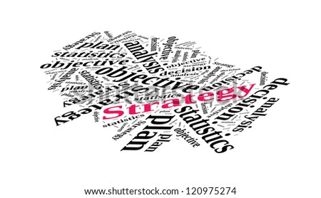 Strategy in word cloud - stock photo