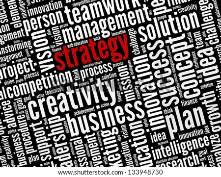 Strategy  in word collage - stock photo