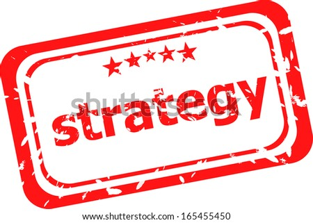 strategy on red rubber stamp over a white background
