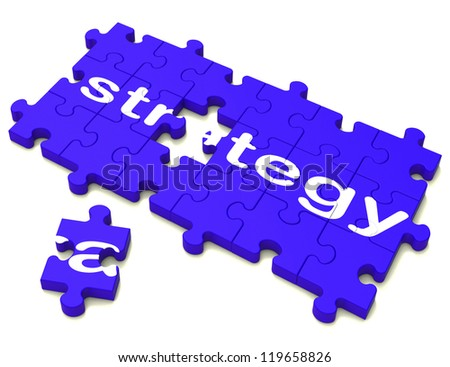 Strategy Puzzle Sign Showing Planning, Tactics And Goals