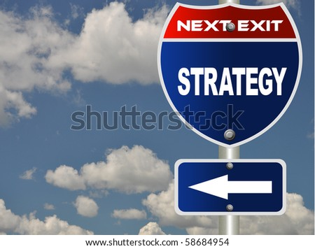 Strategy road sign - stock photo