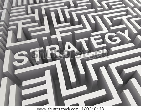 Strategy Word In Maze Shows Blueprint Or Game Plan