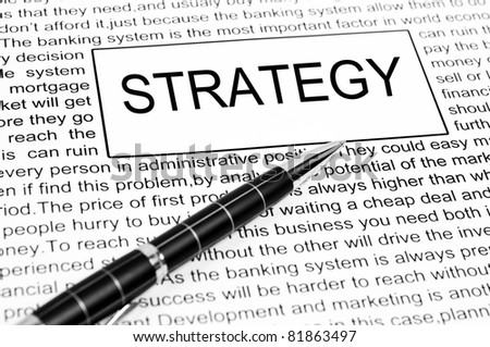 Strategy word on business page