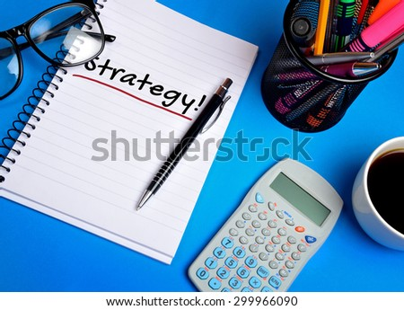 Strategy word on note pad