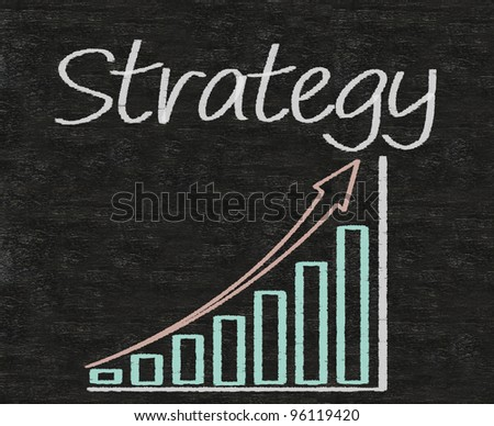 strategy written on blackboard with report chart up