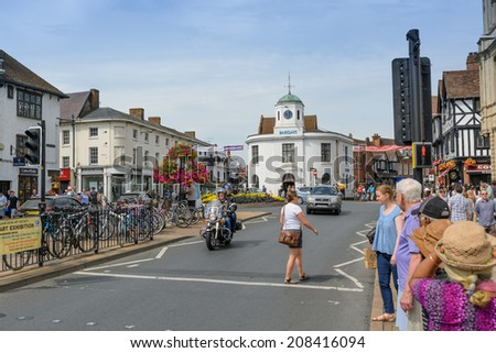 STRATFORD-UPON-AVON , ENGLAND - July 25th: Stratford-Upon-Avon in England, as seen on JULY 25th, 2014. It is a market town most famously known as the birthplace of William Shakespeare. - stock photo