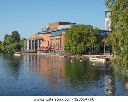 STRATFORD UPON AVON, UK - SEPTEMBER 26, 2015: Royal Shakespeare Theatre on River Avon in Shakespeare birth town - stock photo