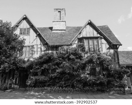 STRATFORD UPON AVON, UK - SEPTEMBER 26, 2015: William Shakespeare birthplace in black and white