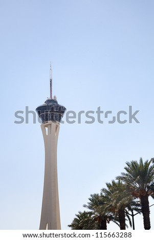 Stratosphere Hotel and Casino is located on the north end of Las Vegas Strip. The Stratosphere Tower is the tallest observation tower in the U.S. and offer the best view of the Las Vegas Strip. - stock photo