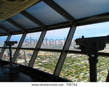 Stratosphere Las Vegas telephoto camera binocular - stock photo