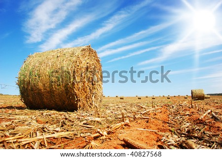 Straw bale against sky and sun