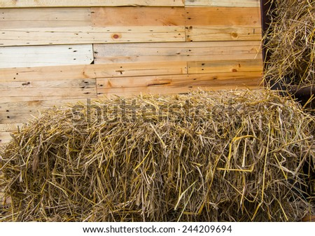 straw bales and wooden background  - stock photo