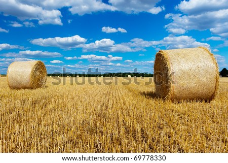 straw bales in a field with blue and white sky - stock photo