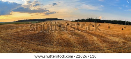 Straw bales in the sunset.