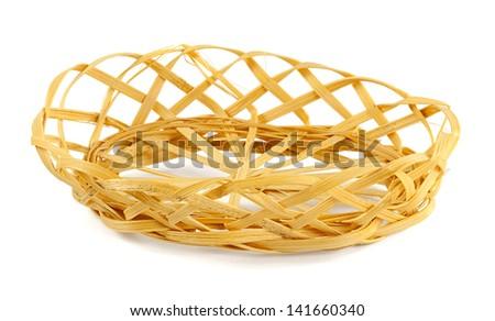 straw basket isolated on white background - stock photo