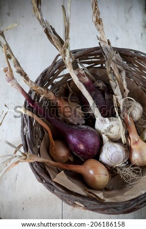 straw basket with freshly harvested garlic and onions with rustic backgroun - stock photo