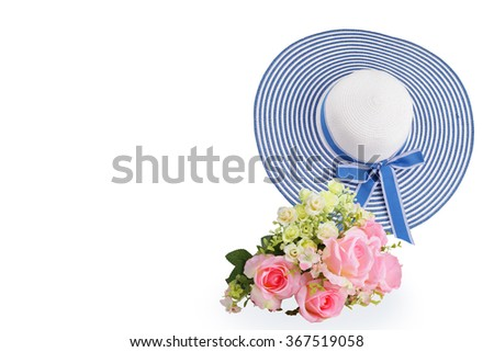 straw blue hat for protect sun with flowers made from fabric isolated on white background. This has clipping path. - stock photo