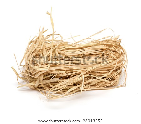 straw for packing and decorating on white background