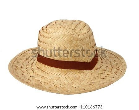 Straw hat against isolated on white background , clipping path