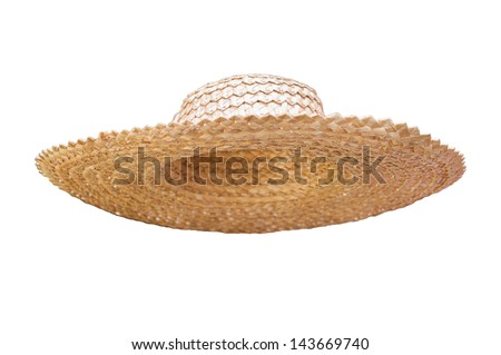 Straw hat for collages isolated on white - stock photo