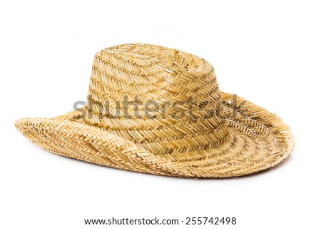 straw hat isolated on a white background - stock photo