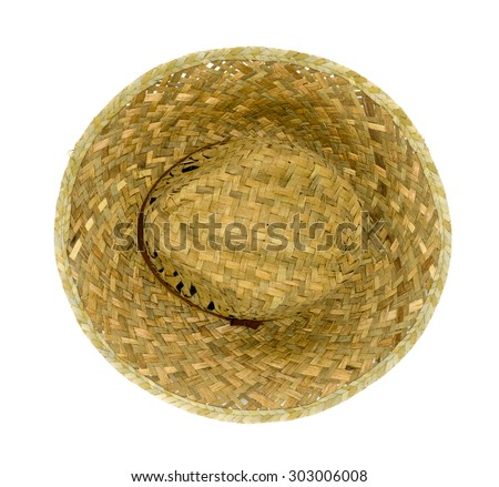 Straw hat isolated on a white background, Top view. - stock photo