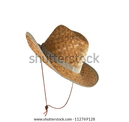 straw hat isolated on white background - stock photo