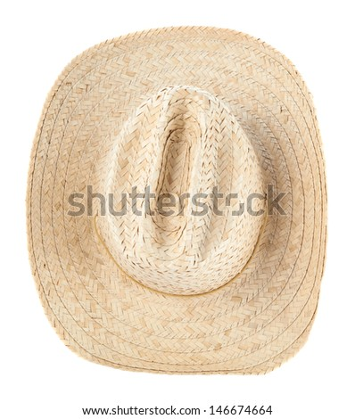 Straw hat isolated over white background, view above - stock photo