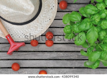 straw hat on a plank with a small rake, cherry tomatoes, and basil  - stock photo