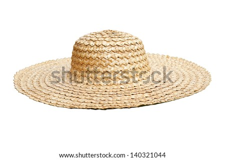 Straw hat side view isolated on white - stock photo