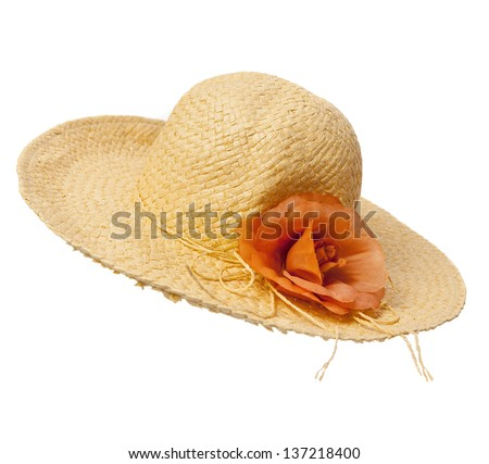 Straw hat with flower isolated over white background - stock photo