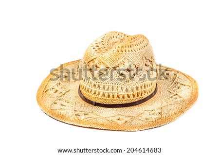 Straw hat with flower on white background