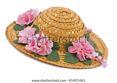 Straw Hat with Pink Flowers - stock photo
