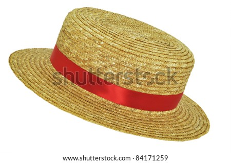 Straw Hat with red ribbon