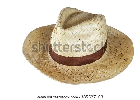 straw hat with ribbon white background