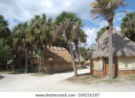 straw huts in the tropical resort
