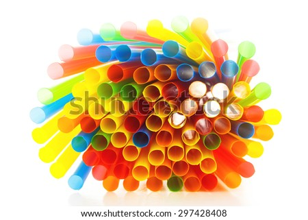 Straw on the white background - stock photo
