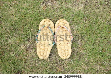 Straw sandals - stock photo