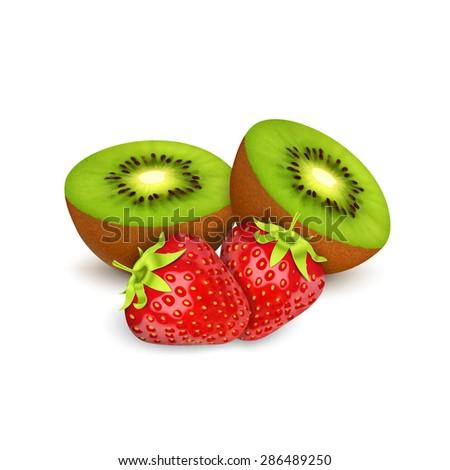 Strawberries amd kiwi isolated on white - stock photo