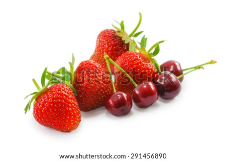strawberries and cherries isolated on a white background - stock photo