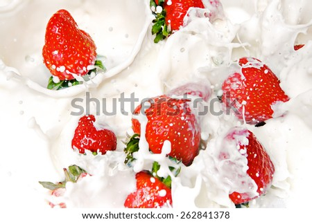 Strawberries and Cream  - stock photo