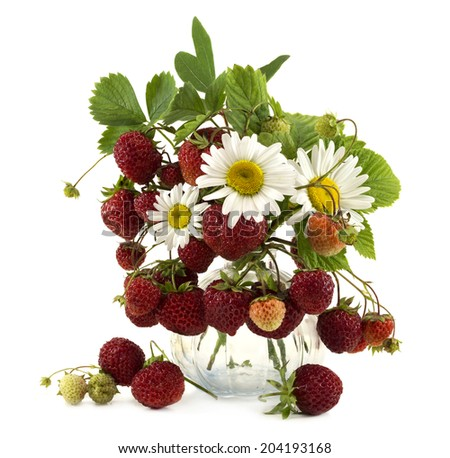 Strawberries and daisy flowers in glass bowl isolated on white - stock photo