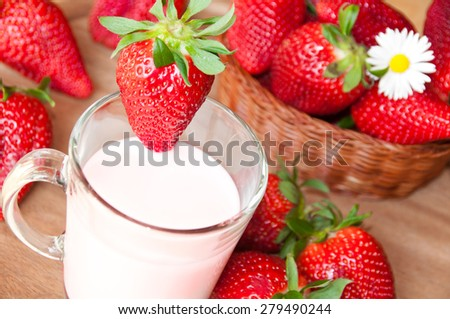 Strawberries and milk drink - stock photo
