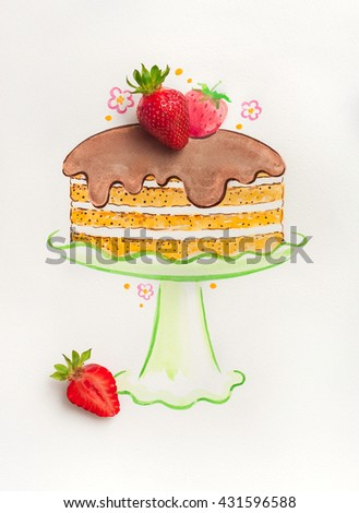 Strawberries and painted watercolor cake - stock photo