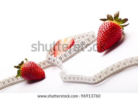 Strawberries berry isolated on white background - stock photo