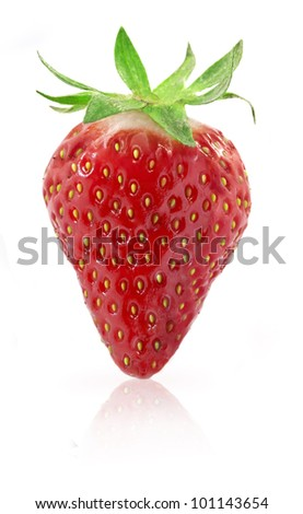 Strawberries berry isolated on white background, with clipping paths - stock photo