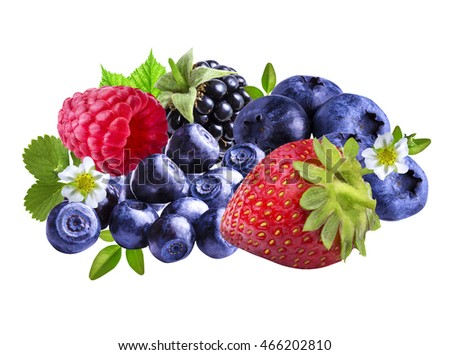strawberries, blackberries, blueberries, blackberries, raspberries isolate on a white background