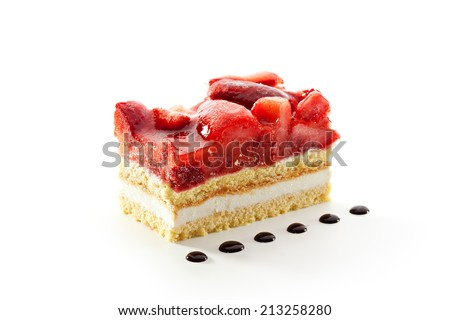 Strawberries Cake with Chocolate Topping - stock photo