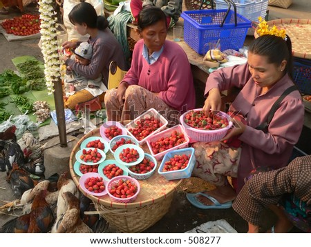 Strawberries & Chickens For Sale Myanmar (Burma)